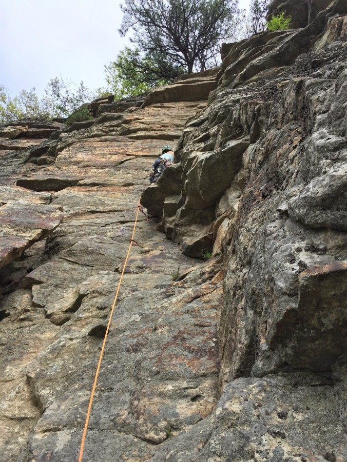 First climb and lead of the day
