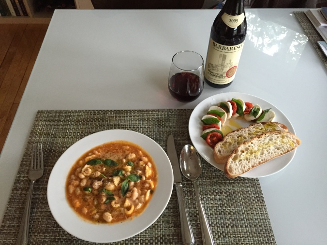 Transformed into pasta fagioli, accompanied with mozz, confit tomatoes, and a barbaresco.