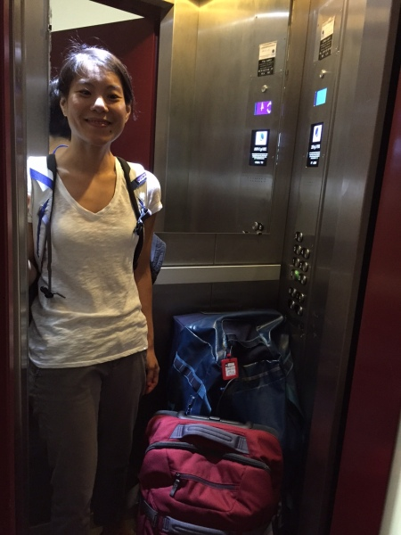 The lift is very small one and without any ventilation. Myself and those two bags are the maximum it can hold. Just Scott and me is pushing it too.