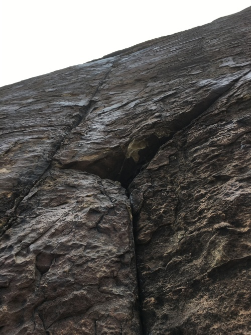 The crux pitch was a glassy sheet. I got about halfway before the rain and hail got to be too much.