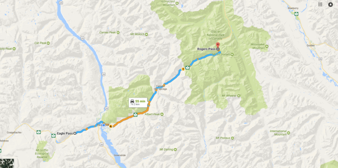 You can see the drive between Revelstoke and Golden falls right along the stretch of highway under warning