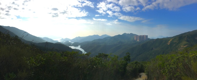 Looking down on the Tai Tam Reservoirs