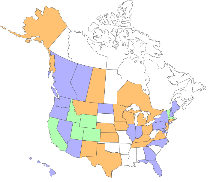 North America Canada USA And Mexico PowerPoint Map States And USA