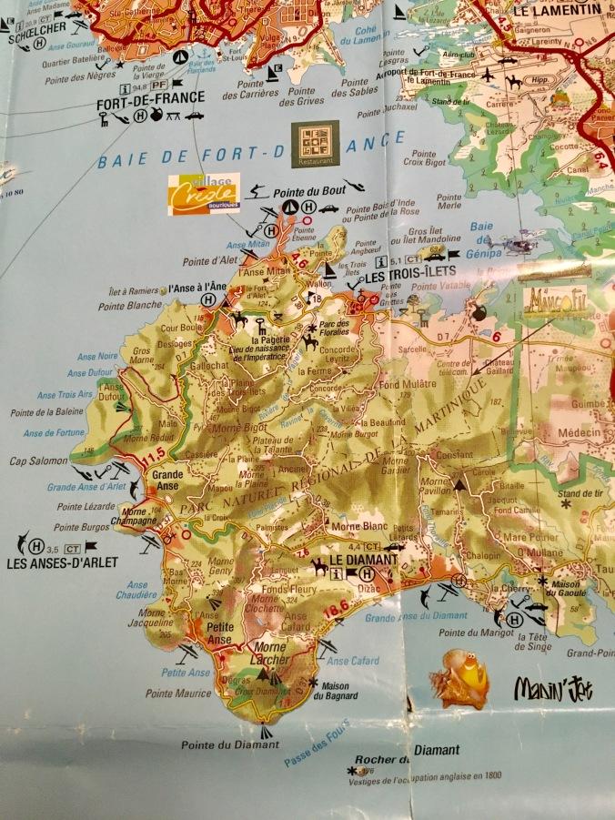southwest-martinique-map