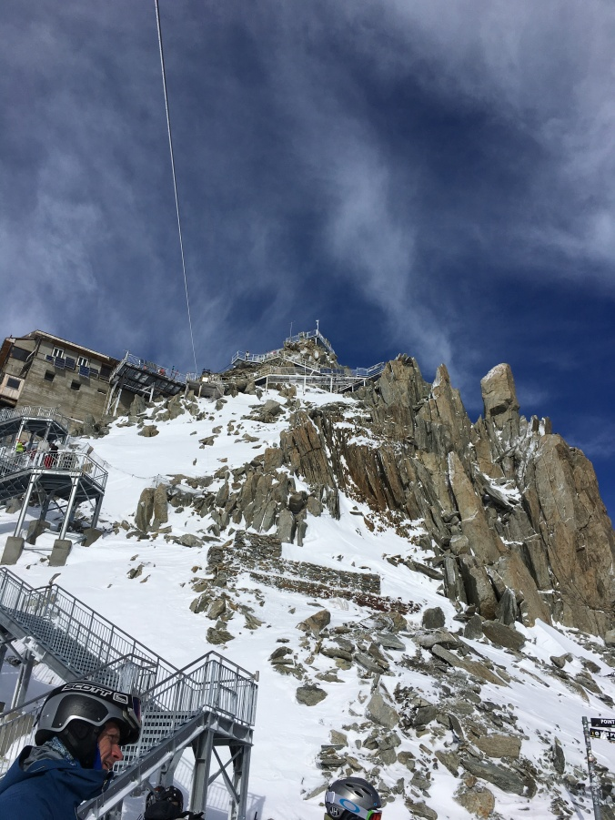 Aiguille du Grands Montets. It's a lot of steps down from where you exit the cable car down to where you put your ski(s) on.