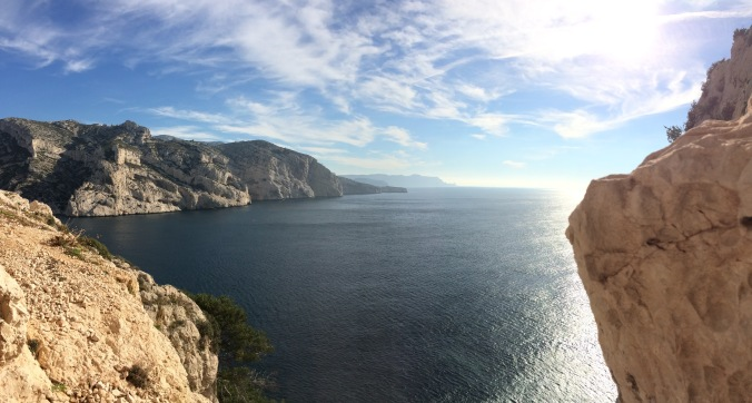 View of the opening to the calanques from the cushy belay on top of p3