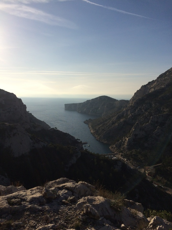 View of the calanque from the approach to the route