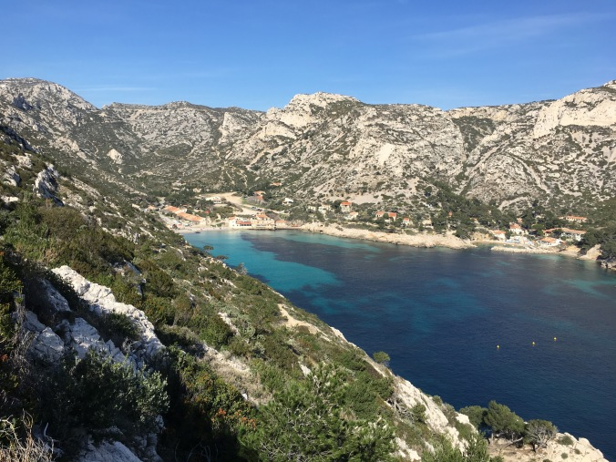 View of the small beach and village in Calanque Sormiou