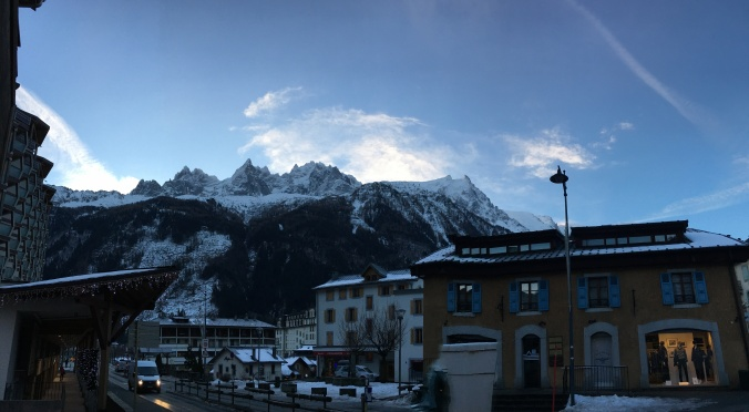 View of Aiguille des Charmoz to Aiguille du Midi from the town